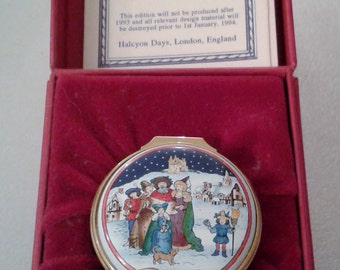 Christmas Box - 1993 Halcyon Days Enamel Painted Trinket Box