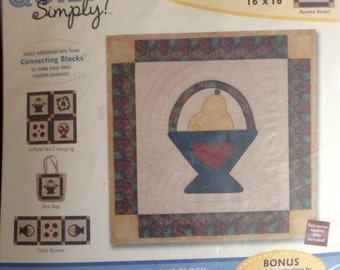 """Quilt Simply Connecting Blocks Kit 16"""" x 16"""" - Seasonal Collection Autumn Basket"""