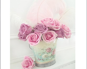 Pink Roses Photography, Dreamy Pink Roses, Shabby Chic Decor, Bucket of Pink Roses Print, Dreamy Roses Photography, Baby Girl Nursery Decor