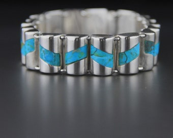 Vintage Mexican Sterling Silver Turquoise Bracelet, Sterling Silver, Turquoise Inlay, Barrel Style, Mexican Jewellery, Gomez, Taxco Bracelet