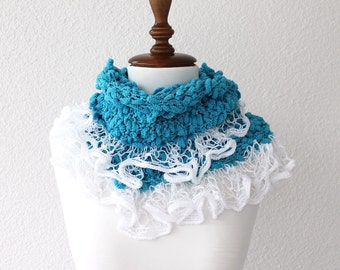 Blue and White Scarf with lace