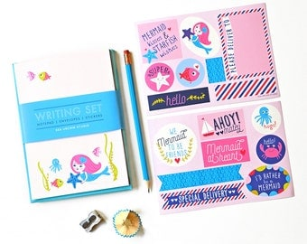 kids stationery,  stationery for girls, kids writing, notepad set, penpal, mermaid, ocean stickers