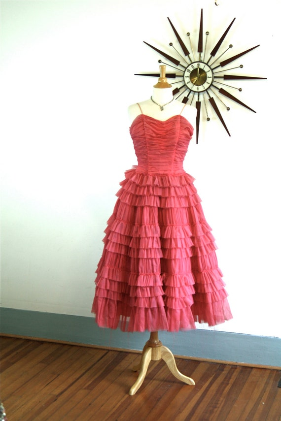 Vintage 1950s Coral Pink Chiffon Party Dress Tiered Ruffles Circle Skirt Spaghetti Strap Fancy Cocktail Party Prom 50s Formal Party Dress