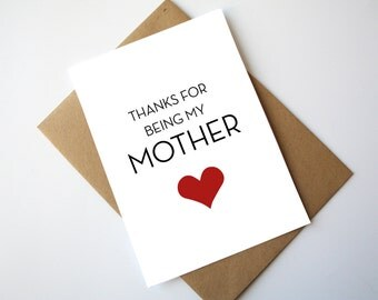 Mothers Day Card Fathers Day Card Happy Mothers Day Happy Fathers Day Thanks for being my Mother / Father Red Heart