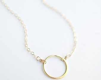 Dainty Minimal Necklace - Gold Circle Necklace - Small Gold Circle Necklace - Minimal Circle Necklace - Simple Circle Necklace