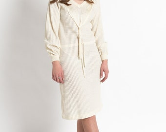 Vintage 60s Ivory Knit Dropped Waist Dress with Mesh Collar | M