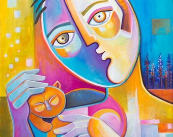 Cubist painting Original Oil on canvas Modern Abstract Art Marlina Vera CAT LOVER Picasso Style Expressionism Pop artwork Gato Chat Fauvism