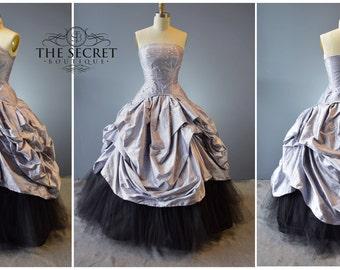 alternative bridal-fantasy wedding gown-wedding gown-plus size-custom made-silk-steampunk-couture-gothic wedding-purpl-the secret boutique