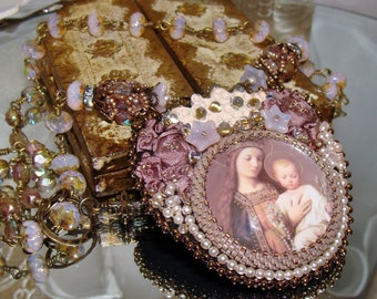 Mary and Christ rosary ribbon and bead embroidery pendant necklace Sacred Jewelry Pamelia Designs