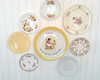 Shabby CHIC Yellow China plates for wall art or tea party
