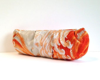 Japanese obi and kimono clutch bag in orange and white