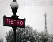 Paris Photography, Metro, Black and White with Red, Rustic, Paris Metro Sign, Office Decor