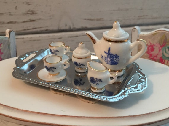 Miniature Delft Tea Service Set With Silver Tray by Reutter, Dollhouse Miniatures, 1:12 Scale, Dollhouse Dishes, Porcelain Set, Accessories