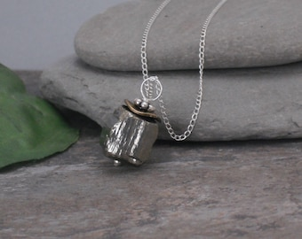 Necklace, Raw Pyrite Cube Nugget Sterling Silver Necklace, Mixed Metal, Rough Pyrite Necklace, Fools Gold Jewelry