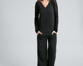 NEW Black Jumpsuit / Long Jumpsuit / Long Sleeve Jumpsuit / Long Pants / Black Romper / Unique Jumpsuit / marcellamoda - MP716