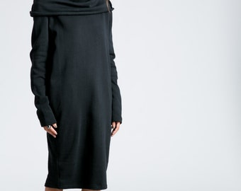 Winter Dress / Loose Dress / Long Sleeve Dress / Midi Dress / Sweatshirt Dress / Oversize Dress / Marcellamoda - MD0714