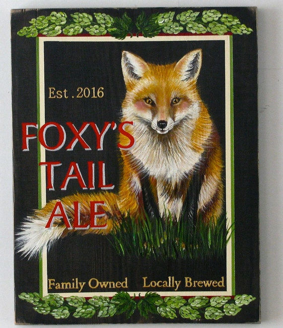 Foxy's Tail original acrylic painting on repurposed wood