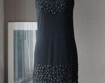 Black Beaded Italian sheath dress cocktail dress sleeveless