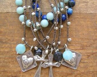 Dainty silver charm necklace  - Trinkets - crochet jewelry, layering necklace, fine silver cross necklace, heart, bohemian boho jewelry