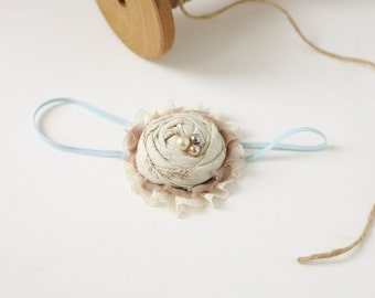 Simple Seaside ivory blue tan rosette chiffon and lace headband