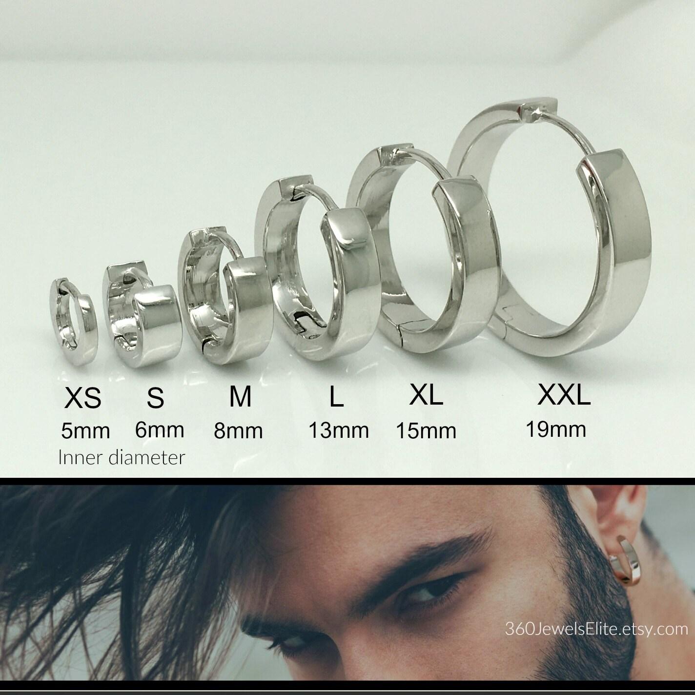 Silver Hoop Earrings, Silver Earrings, Men's Hoop Earrings, Thick Silver Hoop  Earrings,