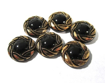 Black Glass Shankless Buttons West Germany VINTAGE Black Gold Luster Buttons Six (6) Vintage Buttons Jewelry Sewing Supplies (F102)