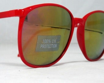 Vintage 80s Large Red Sunglasses With Mirrored Lenses
