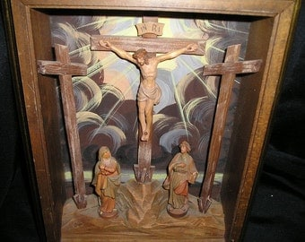 Vintage Anri Religious Celestial Crucifixion of Jesus Christ w/Mother Mary &Joseph  Carved Figural Devotional Wooden Shadow Box