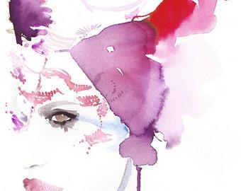 Original Watercolour Painting. Original Fashion sketch, Fashion Illustration, Fashion Wall art, Edgy Fashion, Freja,  Dansk Magazine