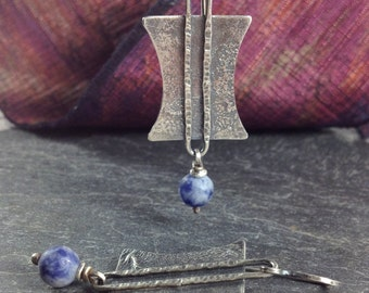 Blue sodalite and silver tribal earrings