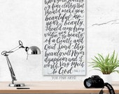 Beauty From Within 1 Peter 3:3-4  It is not Fancy Hair Scripture Verse  Hand Lettered  Sign on Wood