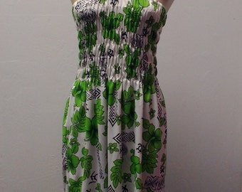 1970s Polyester Hawaiian Floral Halter Dress, White and Green, Size Medium, #56909
