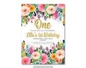 Floral 1st Birthday Invitation, Girl Birthday Invitation,  One Birthday Invitation,  First Birthday, Printable, Digital, Faux glitter 1550