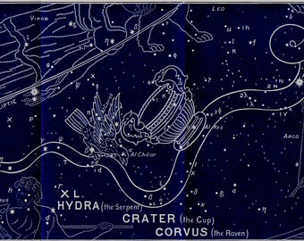 1895 Antique STARS CHART print, star map, Hydra, Crater, Corvus, Constellations. original vintage astronomy lithograph + 100 years old