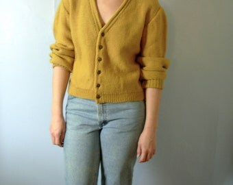 Vintage 50's wool cardigan sweater, mustard yellow, men's size large, oversized sweater