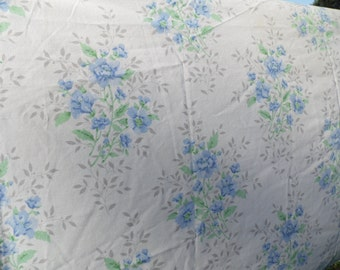 Vintage King Pillowcase floral with roses and more in dark and light blue and green with green and gray leaves cream background shabby chic