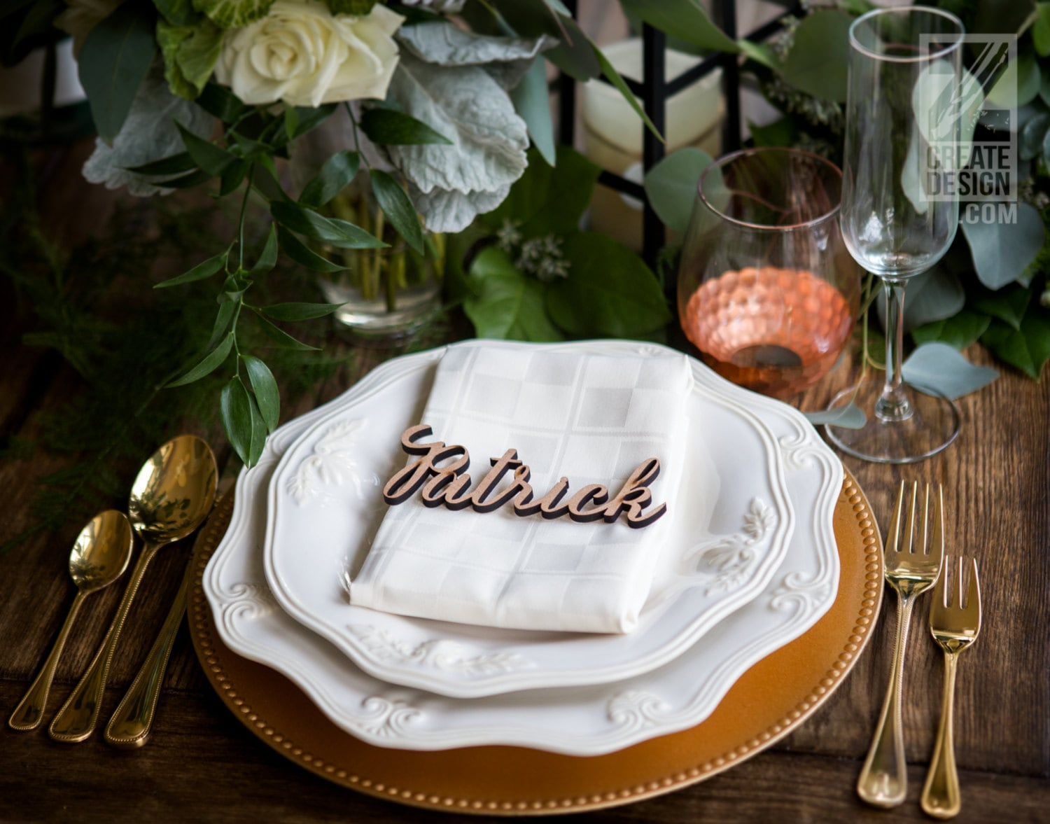 wedding place card wood plate name cutout party or event