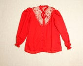 Classic 80's Semi Sheer Oriental Red Blouse with a Western Twist + Cut-Out Embroidered Bib + Cinched Cuffs + China Doll // Size Medium