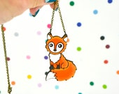 hand painted laser wood cut clever little fox necklace / 18 in brass chain / woodland kawaii orange