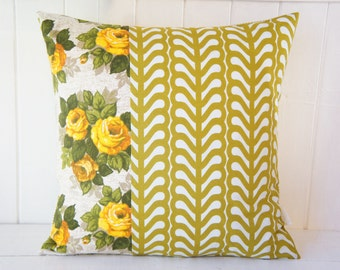 Patchwork Pillow Cover, 20x20, green and gold vintage floral