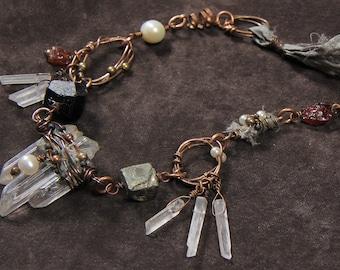 Shaman Rising necklace: crystal quartz sticks, recycled sari silk ribbon, rough black tourmaline nugget, pyrite, garnet, pearl