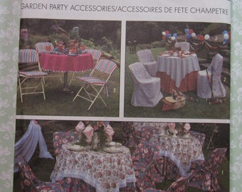 Folding Chair Covers, Tablecloths, Napkins Garden Party Accessories UNCUT Simplicity Pattern 9136 Vintage 1980s