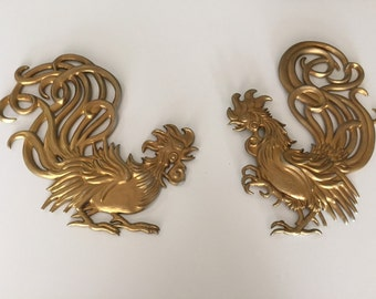 Mid Century Rooster Plaques/Vermay  USA Metal Fighting Rooster's /Metal Rooster/Fighting Rooster/Goldtone Rooster/By Gatormom13