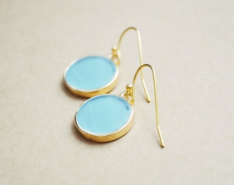 Drop Earrings In Gold Round Bezel Setting - Enamel Jewelry