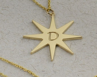 Solid gold Star Initial Necklace with Double Sided Engraving. Personalized Jewelry. 14/18k yellow, rose and white Gold.