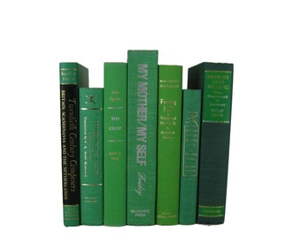 Green Books Home Decor,  Vintage Books, Old Books,  Book Sets, Vintage Wedding Decor,  Book Lover Gift,  Book Stack, Book Collection
