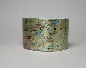 Rocky Mountain National Park Tourmaline Odessa Fern Lake Map Cuff Bracelet Colorado Hiker Backpacker Gift