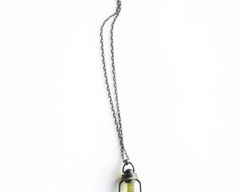 moss tourmaline lantern pendant, oxidized sterling silver necklace, rough gemstone, silversmith necklace