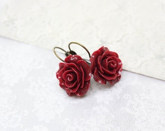 Deep Red Rose Earrings Lever Back Lightweight Drop Earrings Maroon Flower Romantic Bridal Jewelry Vintage Style Victorian Glam Womens Gift