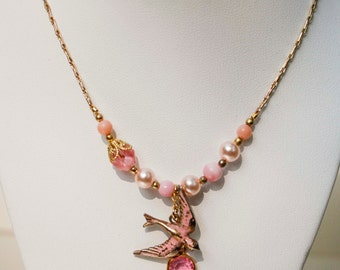 Pink Sparrow Charm Necklace in Gold - Vintage Repurposed, Bird, Pearl, Crystal